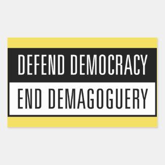 Defend Democracy / End Demagoguery Sticker2 Rectangular Sticker
