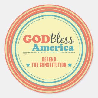 Defend The Constitution Classic Round Sticker