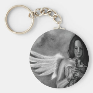 Defender Angel  Girl Sword Basic Round Button Key Ring