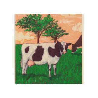 Defiant Cow Wood Canvas
