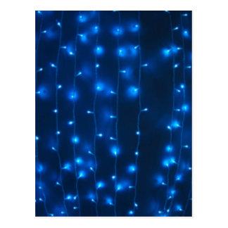 Defocused and blur image of garland of blue LED li Postcard