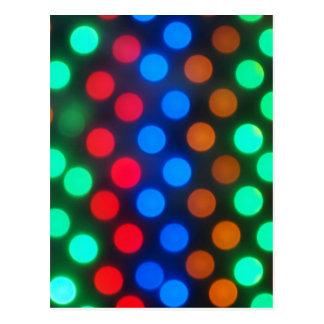 Defocused and blur image of multi-colored lights postcard