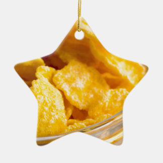 Defocused and blurred image of dry corn flakes ceramic ornament