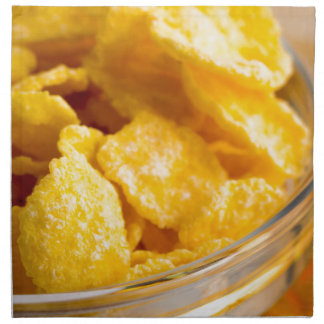 Defocused and blurred image of dry corn flakes napkin
