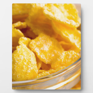 Defocused and blurred image of dry corn flakes plaque