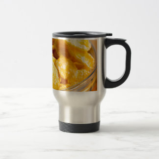 Defocused and blurred image of dry corn flakes travel mug