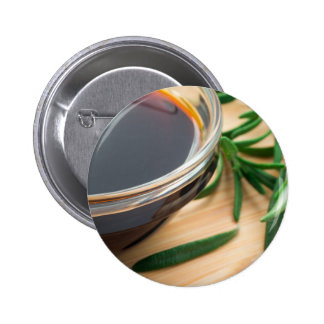 Defocused and blurred image of soy sauce 6 cm round badge