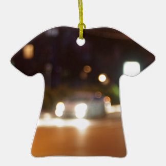 Defocused car and the lights from the headlights ceramic T-Shirt decoration