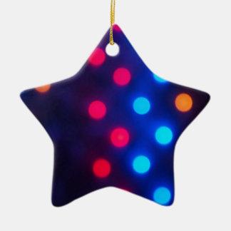 Defocused colored lights out of focus ceramic star decoration