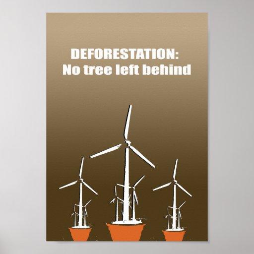 Deforestation = No tree left behind Poster