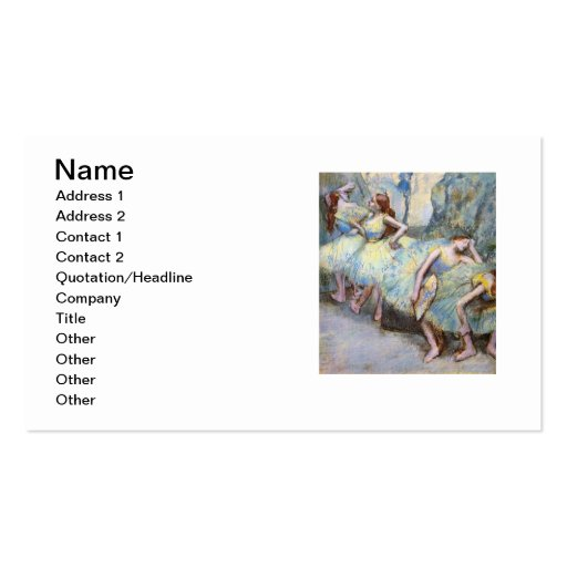 Degas Ballet Dancers Impressionist Business Card Template