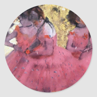 Degas Dancers in Pink Between Scenes Classic Round Sticker