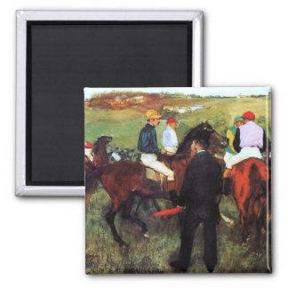 Degas - Racehorses - Impressionism Painting Square Magnet