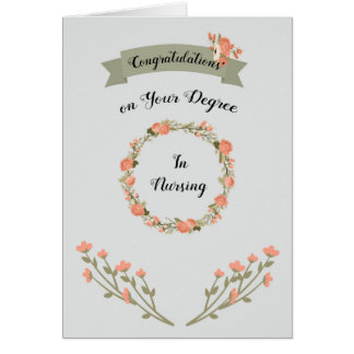 Degree in Nursing Card with Floral Wreath
