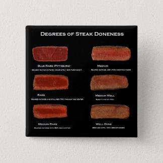 Degrees of Steak Doneness (restaurant info button) 15 Cm Square Badge