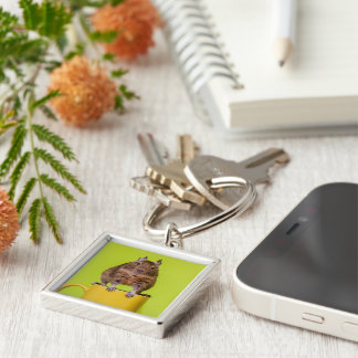 Degu Standing on Cup Photograph Silver-Colored Square Key Ring