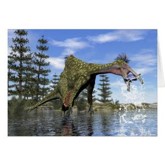 Deinocheirus dinosaur fishing - 3D render Card