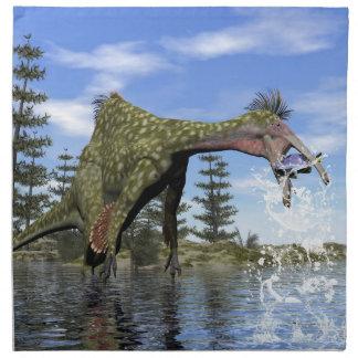 Deinocheirus dinosaur fishing - 3D render Napkin