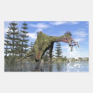 Deinocheirus dinosaur fishing - 3D render Rectangular Sticker