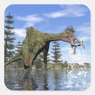 Deinocheirus dinosaur fishing - 3D render Square Sticker