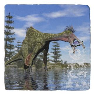 Deinocheirus dinosaur fishing - 3D render Trivet