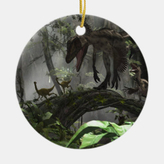 Deinonychus Dinosaur Chase Ceramic Ornament