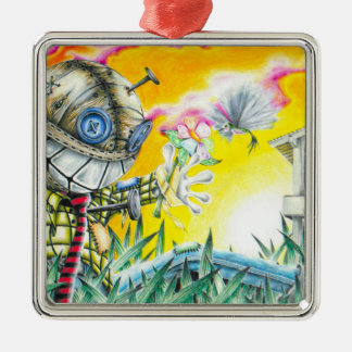 Deja Vudoo - Cute Colorful Pin Cushion Doll Art Silver-Colored Square Decoration