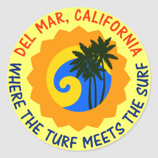 Del Mar, California Where The Turf Meets The Surf Classic Round Sticker