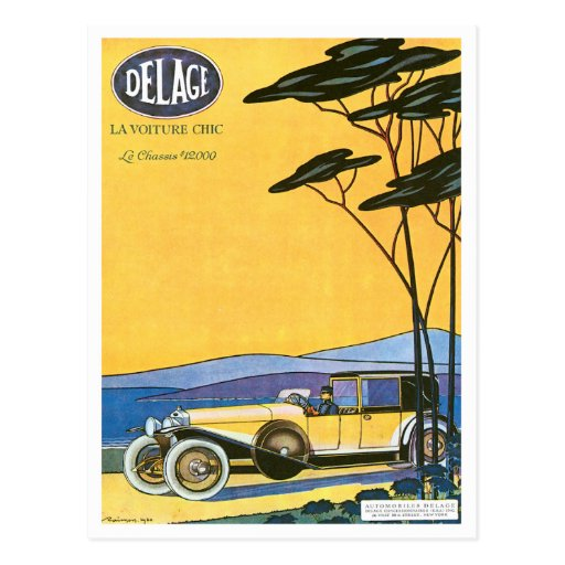 Delage ~ Vintage Automobile Advertisement Post Card