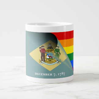 Delaware Flag Gay Pride Rainbow Large Coffee Mug