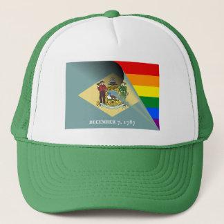 Delaware Flag Gay Pride Rainbow Trucker Hat
