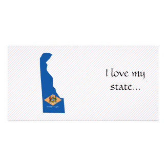 Delaware Flag Map Personalized Photo Card