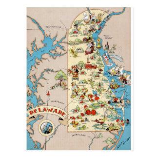 Delaware Funny Vintage Map Postcard