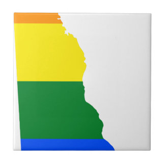 Delaware LGBT Flag Map Ceramic Tile