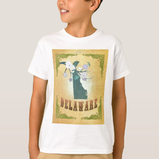 Delaware Map With Lovely Birds T-Shirt