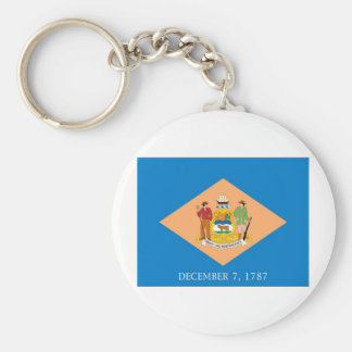 Delaware  Official State Flag Basic Round Button Key Ring