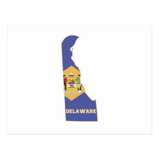 Delaware State Flag and Map Post Card