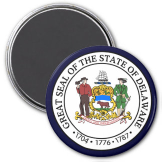 Delaware State Seal 7.5 Cm Round Magnet