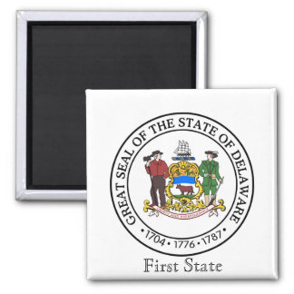 Delaware State Seal and Motto Square Magnet