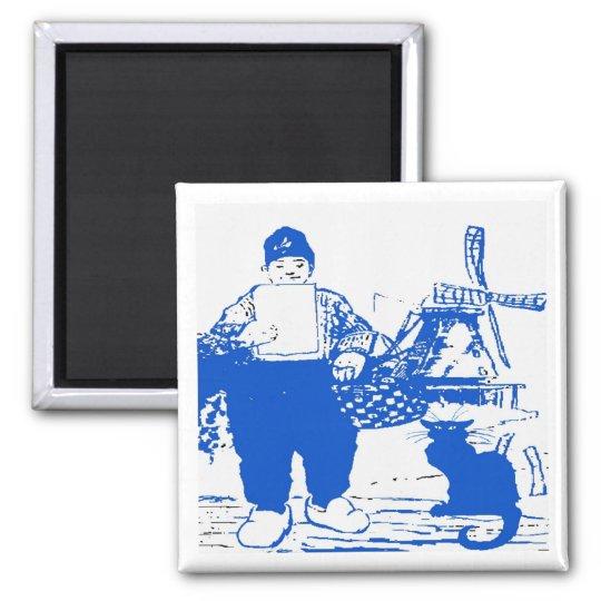 Delft Blue, Dutch Boy and Cat Square Magnet
