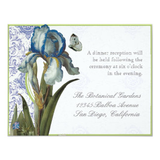 Delft Blue Iris Quatrefoil - Reception Invitation