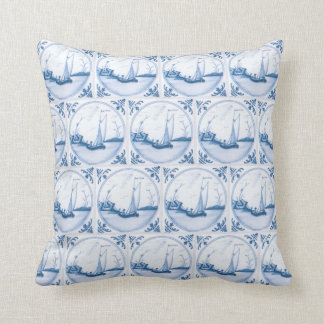 Delft Blue White Sailboat Vintage Faux Tile Pillow