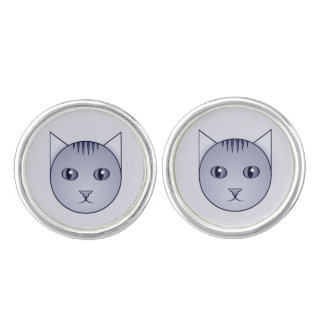 Delft Cartoon Tabby Cuff Links