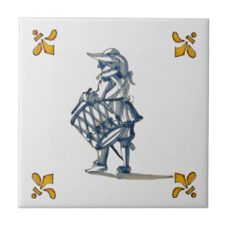 Delft Drummer Tile c 1890 in Blue, Gray, & Yellow