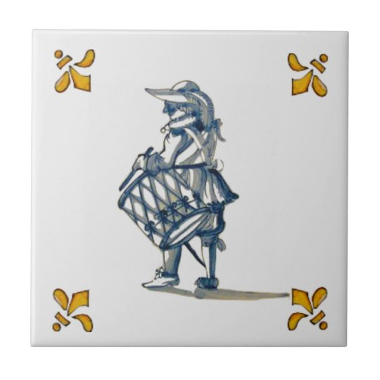 Delft Drummer Tile c 1890 in Blue, Grey, & Yellow