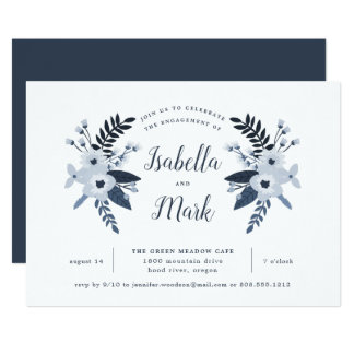 Delft Floral Engagement Party Invitation