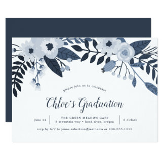 Delft Floral Graduation Party Invitation