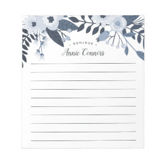 Delft Floral | Personalized Lined Notepad