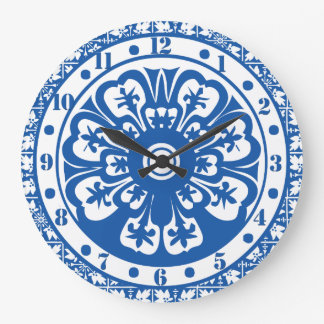 Delft Style Clock Delft Colors Blue and White