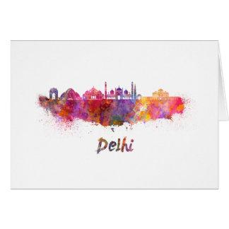 Delhi skyline in watercolor card